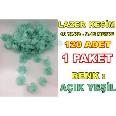 Lazer Kesim Tül Çiçek Su Yeşili 120 Adet 10 Yard